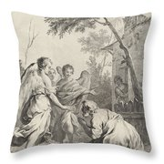 Abraham Kneeling Before The Three Angels Throw Pillow