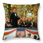 Abraham Lincoln And Stephen A Douglas Debating At Charleston Throw Pillow by Robert Marshall Root
