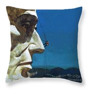 Abraham Lincoln's Nose On The Mount Rushmore National Memorial  Throw Pillow