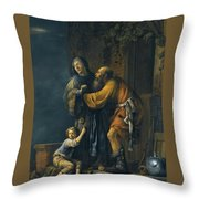 Abraham Pleading With Sarah On Behalf Of Hagar Throw Pillow