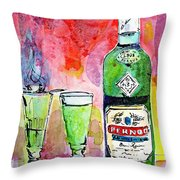 Absinthe Bottle And Glasses Watercolor By Ginette Throw Pillow