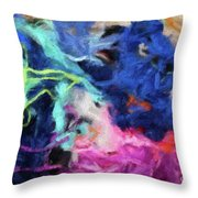 Abstract 130 Digital Oil Painting On Canvas Full Of Texture And Brig Throw Pillow