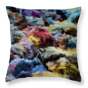 Abstract 133 Digital Oil Painting On Canvas Full Of Texture And Brig Throw Pillow