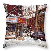 Rue De Pointe St Charles En Hiver Scenes De Rue De Montreal Peinture Originale A Vendre Paul Patates Throw Pillow