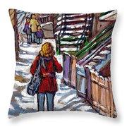 En Route Vers L'ecole Escaliers De Montreal Scenes De Ville Peintures A Vendre Throw Pillow