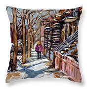 Scenes De Ville De Montreal En Hiver Original Quebec Art For Sale Montreal Street Scene Throw Pillow