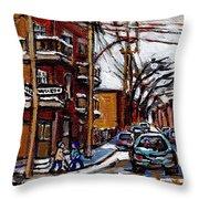 Plateau Mont Royal Scenes De Rue De Montreal En Hiver Rue Napoleon Petit Format A Vendre Throw Pillow