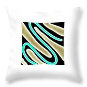 Abstract 35 Golden Tan Green Turquoise Throw Pillow