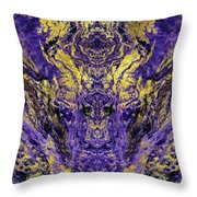 Abstract Amethyst  With Gold Marbled Texture Throw Pillow