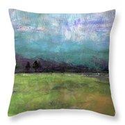 Abstract Aqua Sky Landscape Throw Pillow
