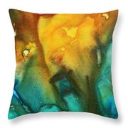 Abstract Art Colorful Turquoise Rust River Of Rust IIi By Madart Throw Pillow