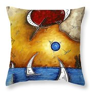 Abstract Art Contemporary Coastal Cityscape 3 Of 3 Capturing The Heart Of The City I By Madart Throw Pillow