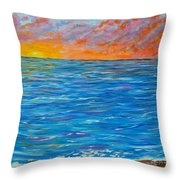 Abstract Art- Flaming Ocean Throw Pillow