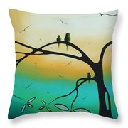 Abstract Art Landscape Bird Painting Family Perch By Madart Throw Pillow