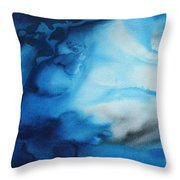 Abstract Art Original Blue Pianting Underwater Blues By Madart Throw Pillow by Megan Duncanson
