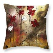 Abstract Art Original Flower Painting Floral Arrangement By Madart Throw Pillow