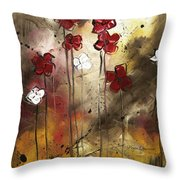 Abstract Art Original Flower Painting Floral Arrangement By Madart Throw Pillow
