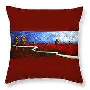 Abstract Art Original Landscape Painting Winding Road By Madart Throw Pillow