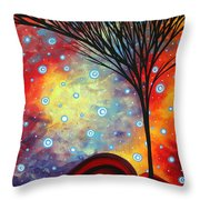 Abstract Art Whimsical Landscape Painting Morning Bliss By Madart Throw Pillow