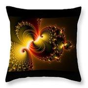 Abstract Art Yellow Golden Red Metal Effect Throw Pillow