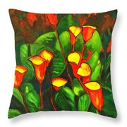 Abstract Arum Lilies Throw Pillow