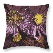 Abstract Aster Flowers Throw Pillow
