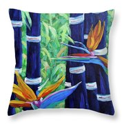 Abstract Bamboo And Birds Of Paradise 04 Throw Pillow