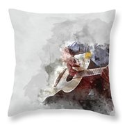 Abstract Beautiful Playing Guitar In The Foreground On Watercolor Painting Background. Throw Pillow
