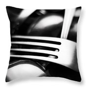 Abstract Black And White Photo Of Mixed Silver Forks Throw Pillow