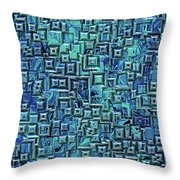 Abstract Blue And Green Pattern Throw Pillow