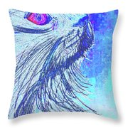 Abstract Blue Cat Throw Pillow