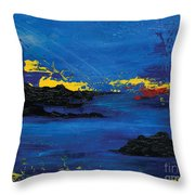 Abstract Blue Sea Throw Pillow by Laura Charlesworth