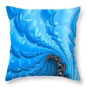 Abstract Blue Winter Fractal Throw Pillow