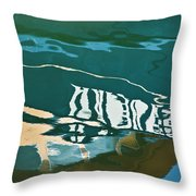 Abstract Boat Reflection Throw Pillow by Dave Gordon