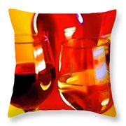 Abstract Bottle Of Wine And Glasses Of Red And White Throw Pillow