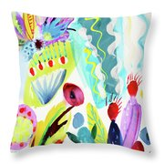 Abstract Cactus And Flowers Throw Pillow