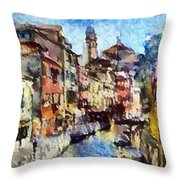Abstract Canal Scene In Venice L B Throw Pillow