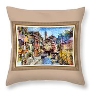 Abstract Canal Scene In Venice L A S With Decorative Ornate Printed Frame. Throw Pillow