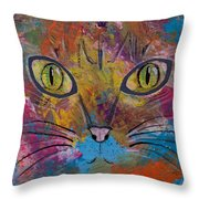 Abstract Cat Meow Throw Pillow