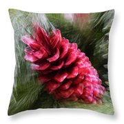 Abstract Christmas Card - Red Pine Cone Blast Throw Pillow