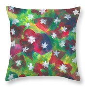 Abstract Circles With Flowers Throw Pillow