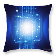 Abstract Circuit Board Lighting Effect  Throw Pillow