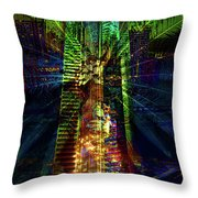 Abstract City In Green Throw Pillow