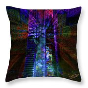 Abstract City In Purple Throw Pillow