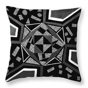 Abstract Cobblestone Blk/wht. Throw Pillow