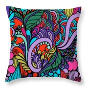Abstract Colorful Floral Design Throw Pillow