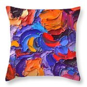 Abstract Colorful Flowers Impasto Palette Knife Modern Impressionist Oil Painting Ana Maria Edulescu Throw Pillow