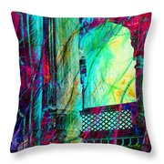 Abstract Colorful Window Balcony Exotic Travel India Rajasthan 1a Throw Pillow