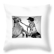 Abstract Cowboy And Horse Throw Pillow