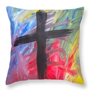 Abstract Cross Throw Pillow
